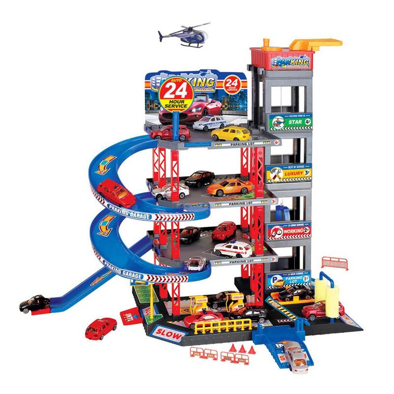 Set de joaca parcare cu 4 masini Toys, elicopter inclus 2021 shopu.ro