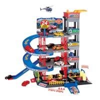 Set de joaca parcare cu 4 masini Toys, elicopter inclus