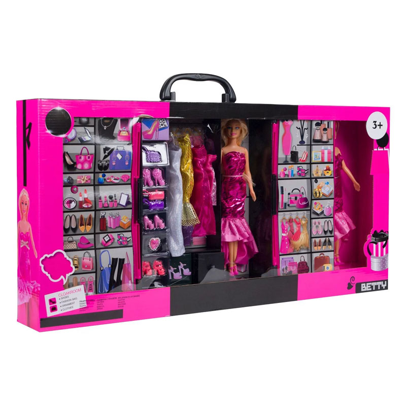Set de joaca pentru fetite, 2 papusi, 4 rochii, 74 x 9 x 36.5 cm