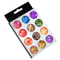 Set decoratiuni pentru unghii tip confeti, 12 bucati, Multicolor