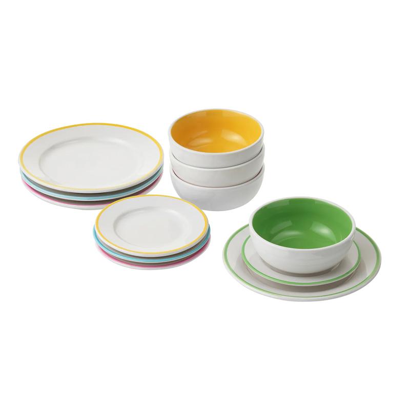 Set farfurii/boluri de jucarie, 12 piese, ceramica vitrificata, Multicolor