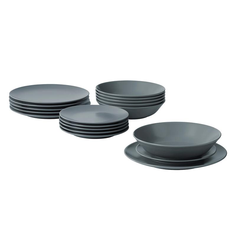 Set farfurii rotunde din ceramica, 18 piese, Gri 2021 shopu.ro