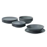 Set farfurii rotunde din ceramica, 18 piese, Gri