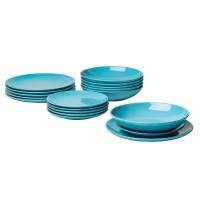 Set farfurii rotunde din ceramica, 18 piese, Turqoise