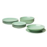 Set farfurii rotunde din ceramica, 18 piese, Verde