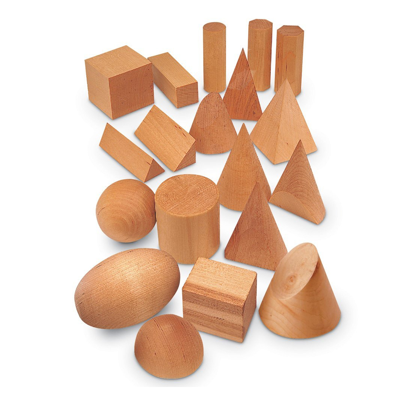 Set forme geometrice din lemn Learning Resources, 19 piese, 5 - 8 cm, 6 - 13 ani