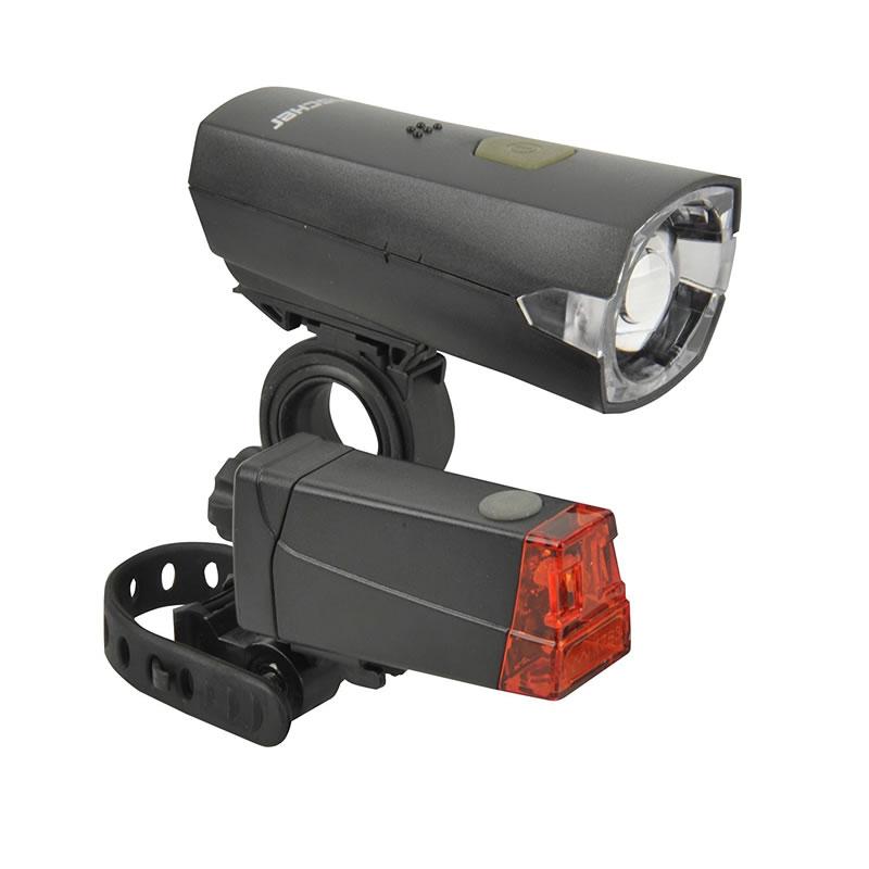 Set iluminare LED pentru bicicleta Fischer, fixare rapida 2021 shopu.ro