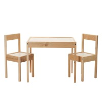 Set masuta si scaune pentru copii, lemn, Crem/Alb