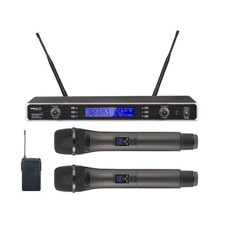 Set microfoane profesionale BST, UHF, 16 canale, afisaj LCD, raza actiune 100 m 2021 shopu.ro