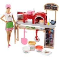 Set papusa Barbie cu atelier de pizza complet echipat, 3 ani+
