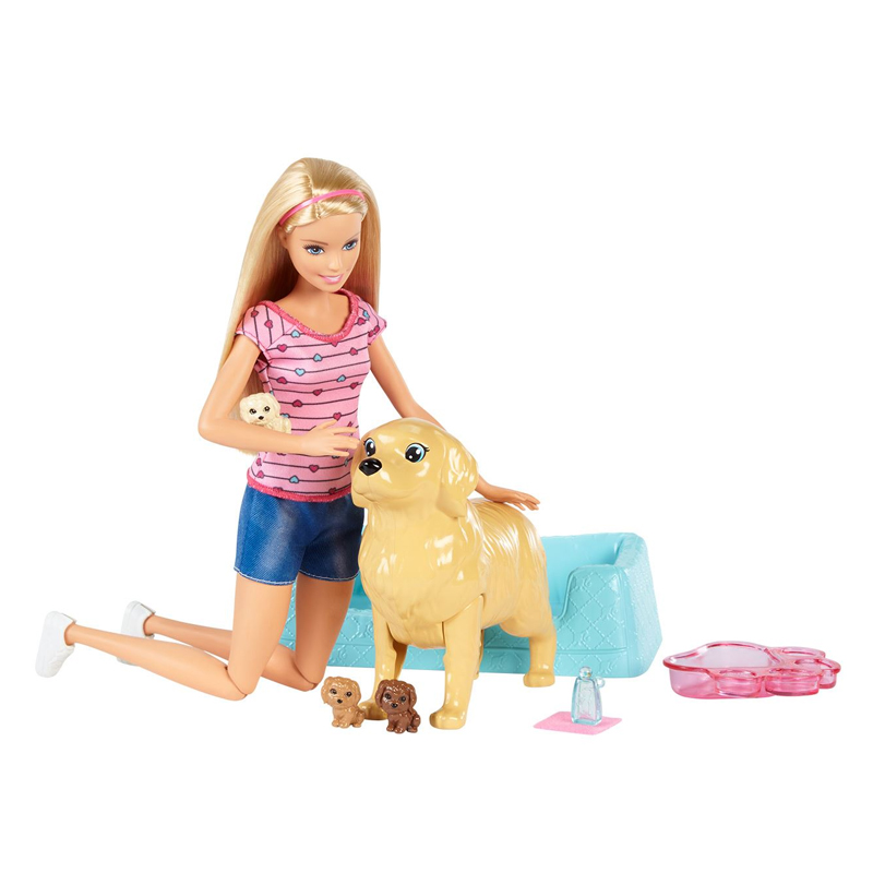 Set papusa Barbie si catel, 3 catelusi inclusi, 3 ani+