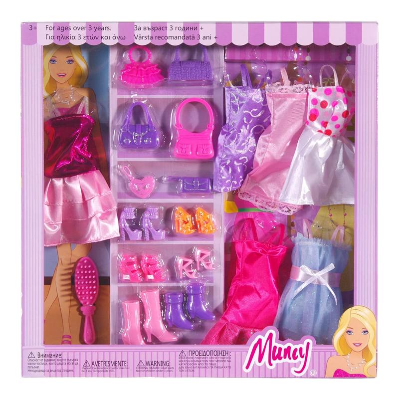 Set garderoba papusi Muncy, 6 rochii, accesorii incluse 2021 shopu.ro