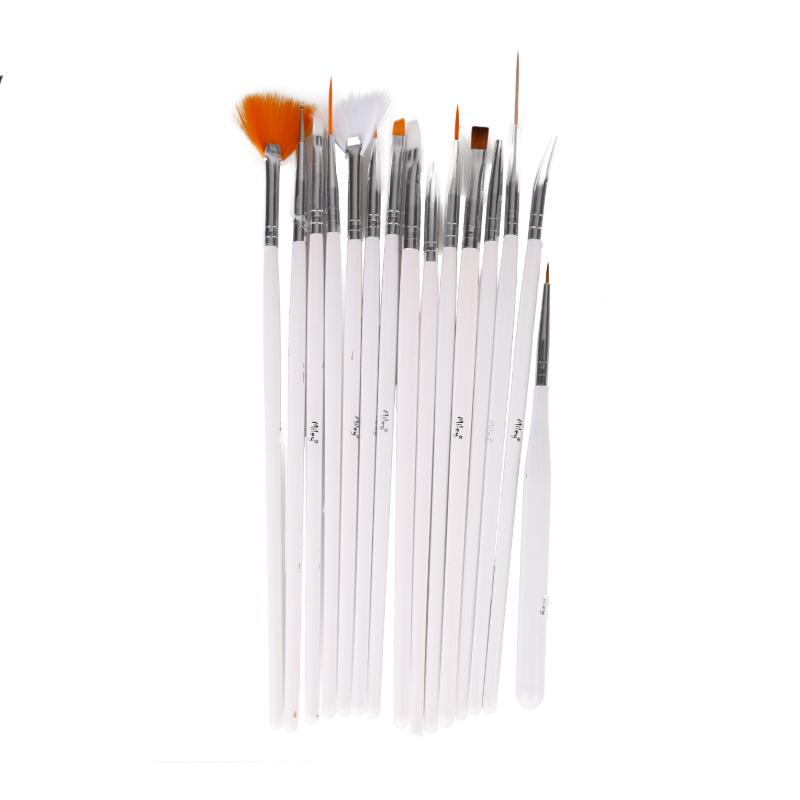 Set pensule pentru unghii Miley, 15 piese, Alb 2021 shopu.ro