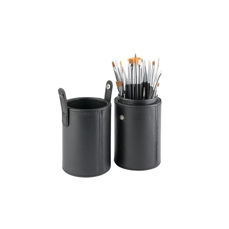 Set pensule pentru unghii Miley, 34 piese, maner lemn, suport inclus 2021 shopu.ro