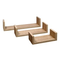 Set rafturi din lemn, 3 piese, Maro