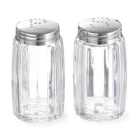 Set recipient pentru sare si piper, 0.05 L, sticla, capac inox, 2 bucati