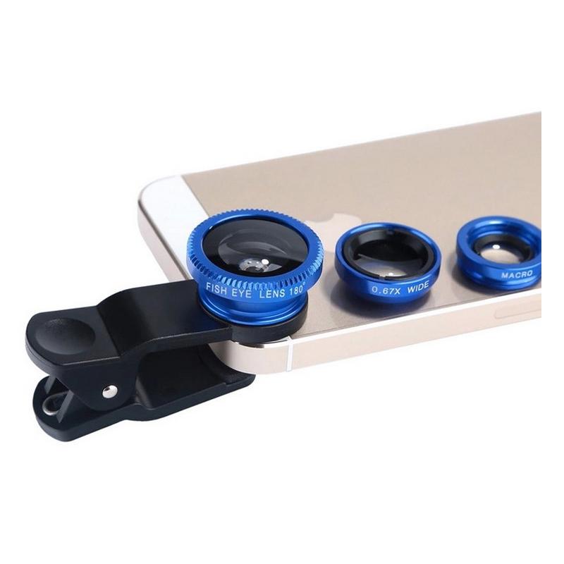 Set universal lentile pentru telefon 3 in 1, husa inclusa