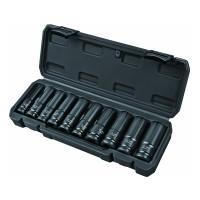Set 10 chei tubulare lungi de impact Top Master Pro, 10-24 mm, prindere 1/2 inch, otel crom-molibden