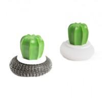 Set 2 bureti de spalat vase Family Pound, 8.5 x 8 cm, fibre otel/plastic, model cactus