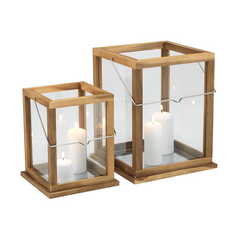 Set 2 felinare, 26 x 26 x 32 cm, lemn, Natur shopu.ro