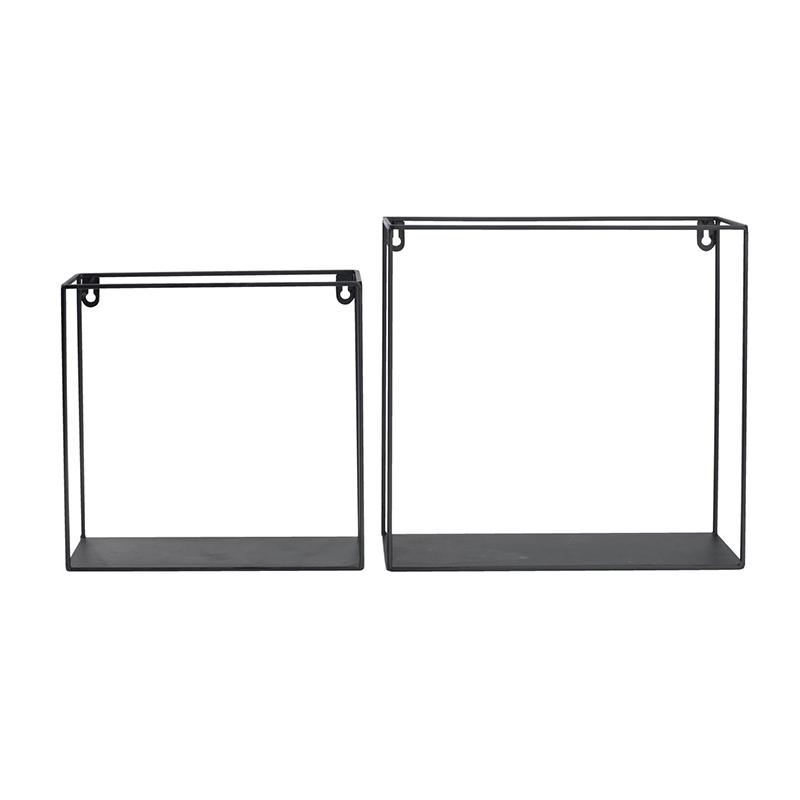 Set 2 rafturi, 30/25 x 10/9 cm, metal, Negru shopu.ro