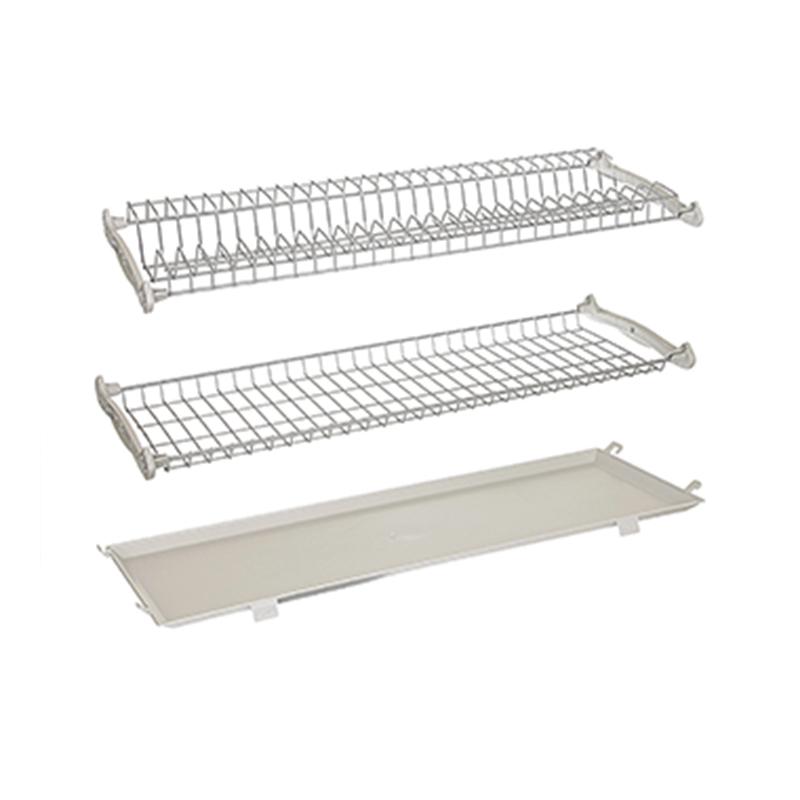 Set 2 scurgatoare incastrabile, 27.1 x 76.8 x 5.5 cm, metal, tava plastic, Argintiu 2021 shopu.ro