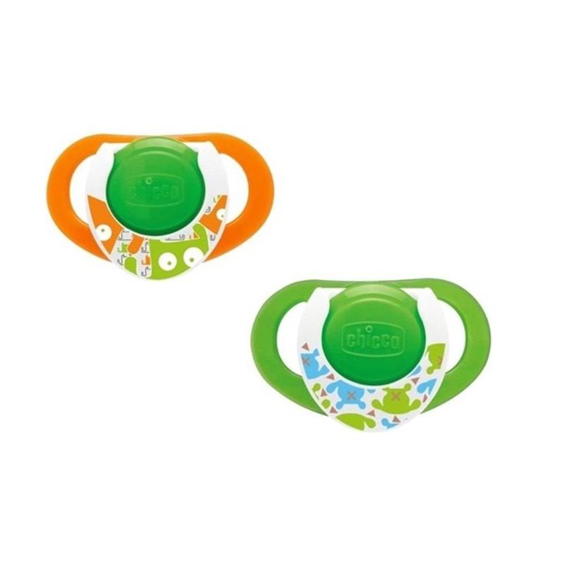 Set 2 suzete Physio Comfort Chicco, silicon, orificii pentru ventilatie, margini rotunjite, 16-36 luni, Verde/Portocaliu 2021 shopu.ro