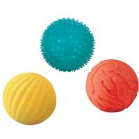 Set 3 mingii senzoriale Ludi, PVC, 8 cm, 6 luni+, Multicolor