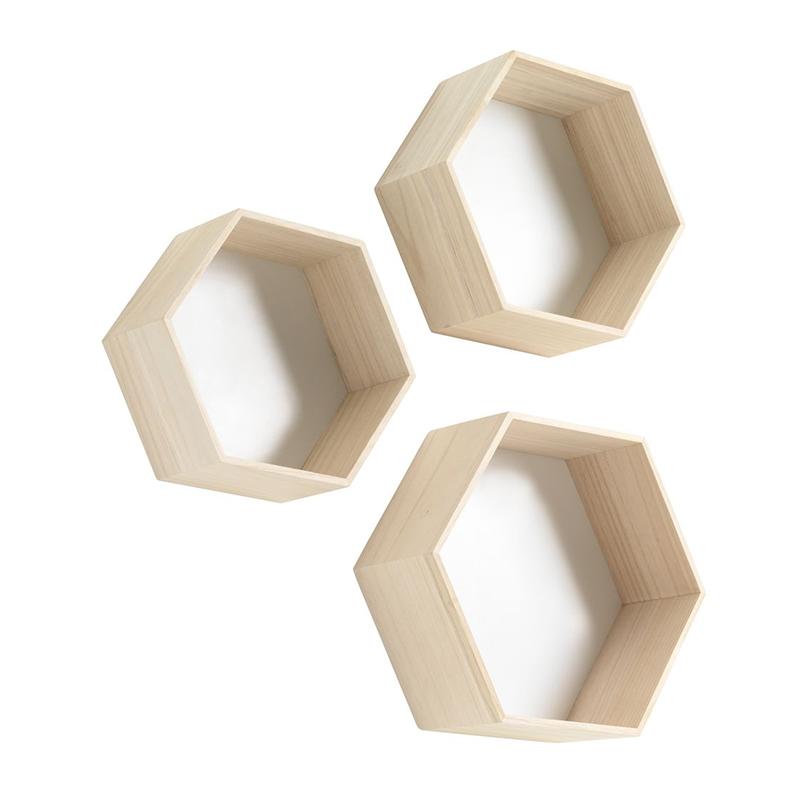 Set 3 rafturi de perete, lemn masiv, 3 dimensiuni diferite, Natur/Alb 2021 shopu.ro