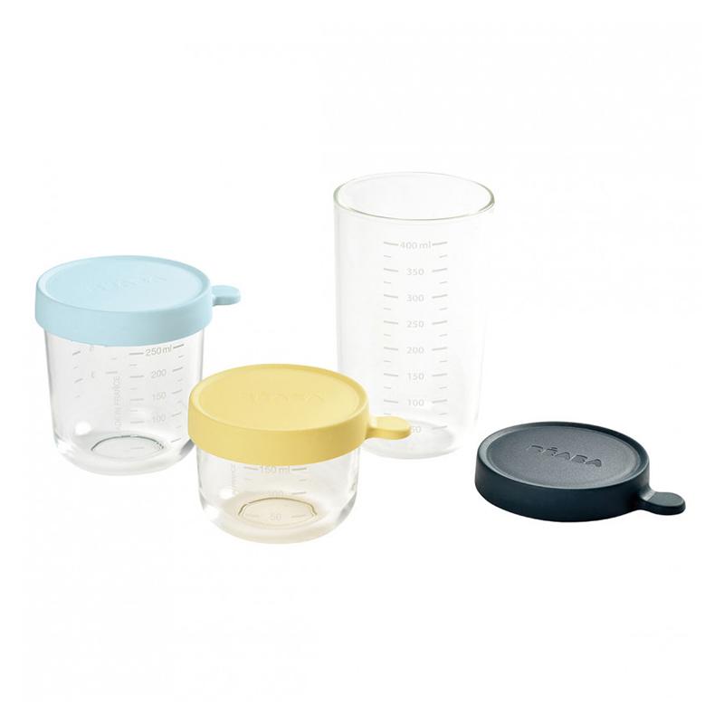 Set 3 recipiente Beaba, 150-250-400 ml, sticla, inchidere ermetica, Albastru 2021 shopu.ro