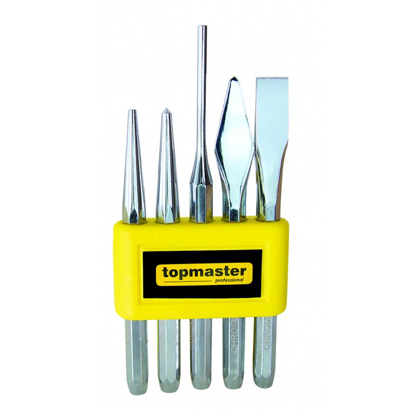 Set 5 dalti/punctatoare Topmaster, 3-12 mm, otel crom-vanadiu