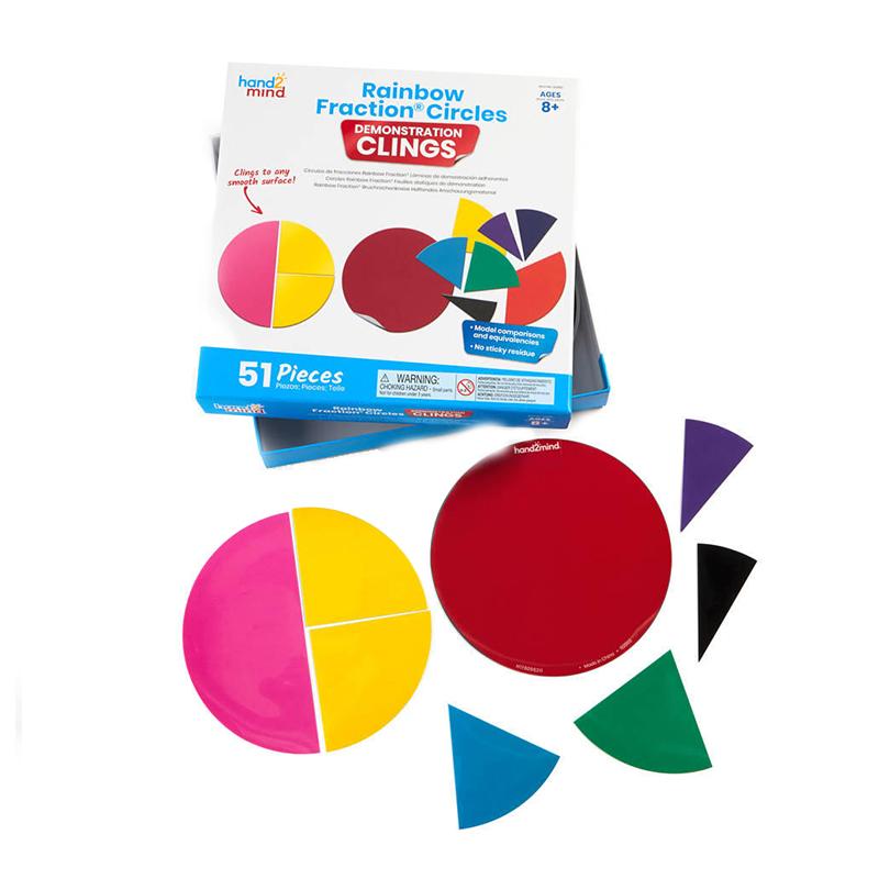 Set Invata matematica Geometria fractiilor Hand2Mind, 19 cm, 51 piese, 8-12 ani, Multicolor