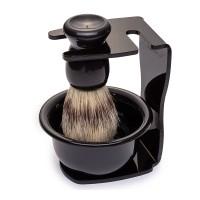 Set barber Wild Spirit Yoshimoto, 100 ml, par natural, bol plastic, maner lemn, Negru