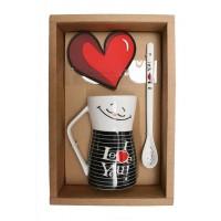 Set cana cu lingurita Lover Maxtar, 12.5 cm, ceramica, capac PVC