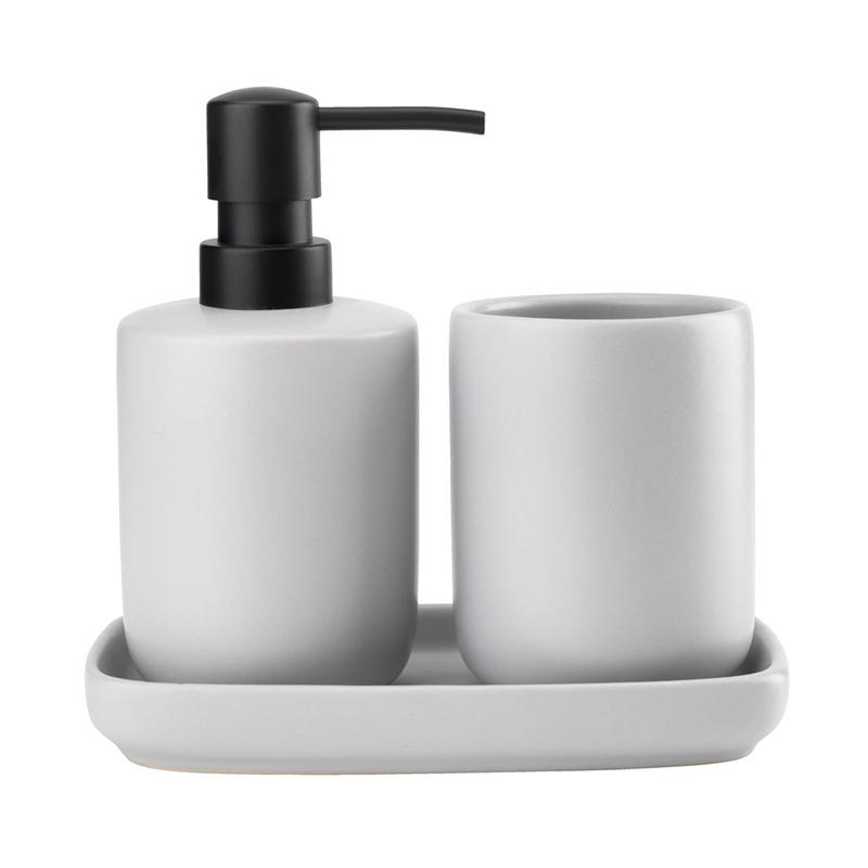 Set pentru baie, plastic/ceramica, 3 piese, Gri 2021 shopu.ro