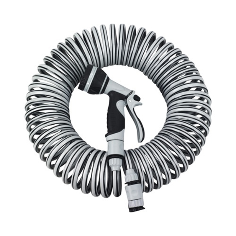 Set furtun spiralat For_q, 15 m, 9 mm, PVC, Gri shopu.ro