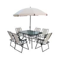 Set mobilier pentru gradina, masa 120 x 90 x 69 cm, scaune pliabile, metal/textilen, umbrela inclusa
