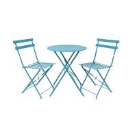 Set mobilier pentru gradina Bistro Roma, masa 60 x 71 cm, metal, 2 scaune pliabile, Albastru