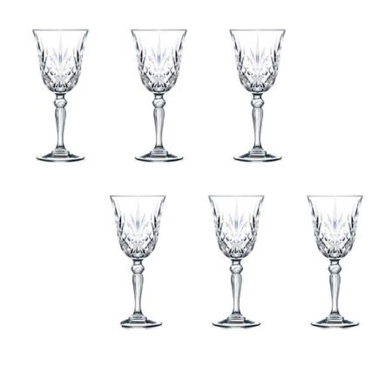 Set pahare cu picior Melodia Rcr Cristal, 210 ml, cristal, 6 bucati 2021 shopu.ro