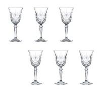 Set pahare cu picior Melodia Rcr Cristal, 210 ml, cristal, 6 bucati