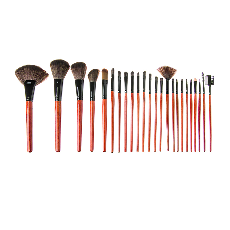 Set pensule make-up, 14 x 24 cm, 24 bucati, maner lemn 2021 shopu.ro
