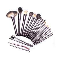 Set pensule make-up Megaga, 14 x 25 cm, peri naturali, maner lemn, 21 bucati