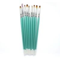 Set pensule pentru unghii Miley, 9 bucati, Turcoaz