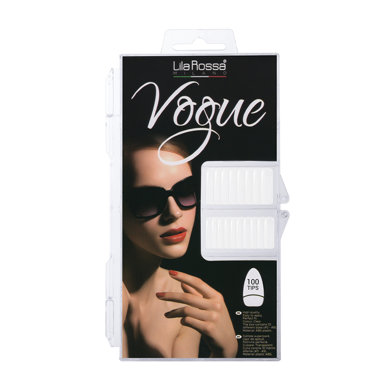 Set tipsuri pentru manichiura Vogue Lila Rossa, 100 bucati, model 01, Natur 2021 shopu.ro