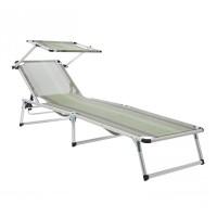 Sezlong plaja WHZR-005, pliabil, structura metal, protectie solara, 188 x 60 x 28 cm