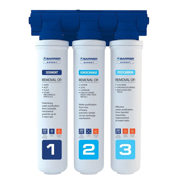 Sistem de filtrare apa in 3 etape Barrier Expert Stand, filtrare pana la 10.000 l 2021 shopu.ro