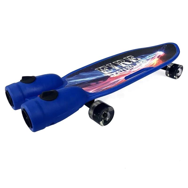 Skateboard cu simulator turbina LED Fire, 72 cm, 3-12 ani+, efect fum si sunete 2021 shopu.ro