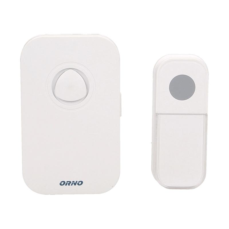 Sonerie fara fir Orno, 89 dB, alimentare cu baterii, maxim 100 m, 36 melodii, IP44, Alb 2021 shopu.ro