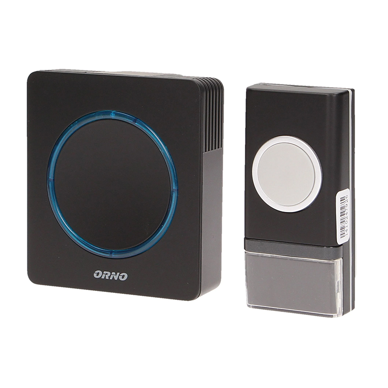 Sonerie fara fir Orno, 90 dB, 120 x 87 x 35 mm, raza actiune 100 m, volum reglabl, IP20, Negru 2021 shopu.ro