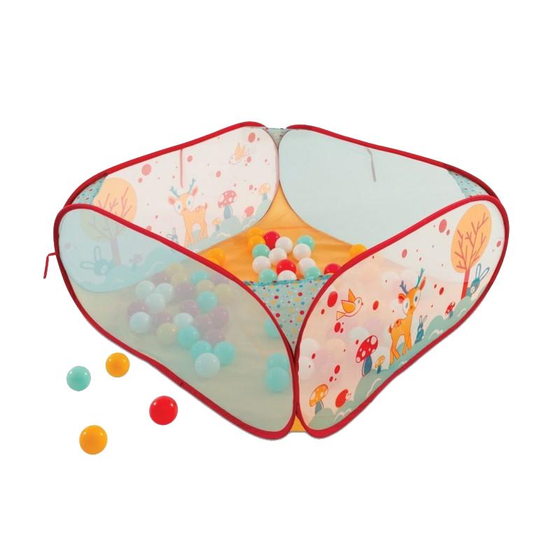Spatiu de joaca pliabil Ludi, poliester, 90 x 90 x 40 cm, 45 bile colorate, 6 luni+, model iepure 2021 shopu.ro